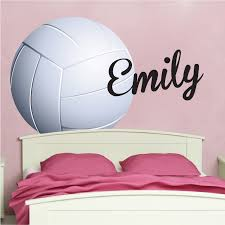 Volleyball Wallpaper Decal Girls Volleyball Wall Decor Murals Vollyeball Room Sticker Personalized Volleyball Monogram Primedecals