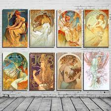 Unframed Printed Poster Morden Alphonse Maria Mucha Colorful Pictures Canvas Modern Oil Art Home Wall Decal Wish