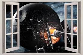 Star Wars Death Star 3d Window View Decal Wall Sticker Home Decor Art Mural Stickers Home Decor Wall Stickerwall Stickers Home Decor Aliexpress