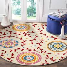 Shop Lr Home Whimsical Graceful Gardens Cream Red Kids Area Rug 4 8 Round 4 8 Round Overstock 21369338