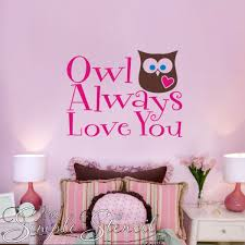 Owl Always Love You Vinyl Wall Quote Lettering Decal With Big Hearted Owl