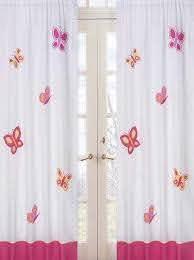 Kids Butterfly Window Curtains Panels For Girls Set Of 2 Drapes Hot Pink White Orange Sweet Jojo Designs Jojo Designs Butterfly Bedding