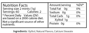 epic xylitol freshfruitmint nutrition
