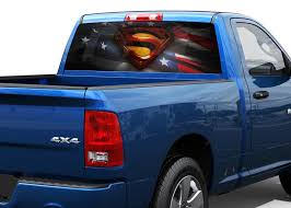 Product Superman American Flag Rear Window Decal Sticker Pick Up Truck Suv Car