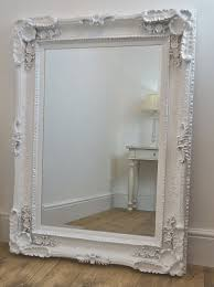 large beveled white ornate french