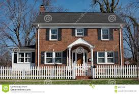 Brick House With White Picket Fence Stock Photo Image Of Real Exterior 86557418