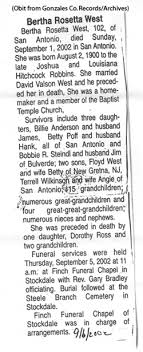 Bertha Roseeta/Rosetta Robbins West (1900-2002) - Find A Grave Memorial