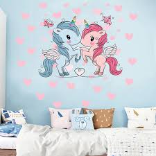 2 Sheets Unicorn Pattern Wall Decals Unicorn Wall Stickers Bedroom Decoration For Birthday Christmas Kids Home