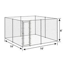 6ft H X 10ft W X 10ft D Chain Link Kennel Kit Pet Kennels Crates Playpens Pet Sentinel Products