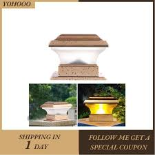 Yohooo Solar Power Fence Post Lights Waterproof Outdoor Garden Landscape Yard Pillar Shopee Philippines