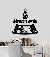Vinyl Wall Decal Adventure Awaits Travel World Map Geography Stickers Wallstickers4you