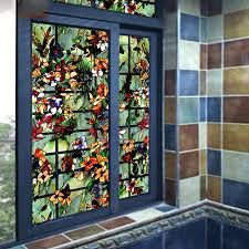 colored flower stained window
