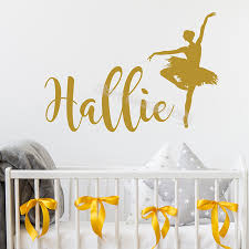 Ballerina Wall Sticker Personalized Custom Name Decal Decor Baby Room Ballet Dance Mural Girl S Birthday Party Nursery Eb499 Buy At The Price Of 5 90 In Aliexpress Com Imall Com