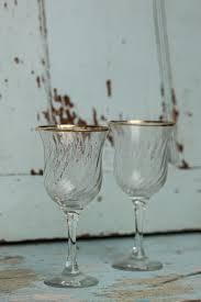 gold rimmed wine glasses pair