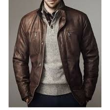 mens leather brown jacket size s xl