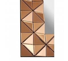 geometric copper glass wall mirror