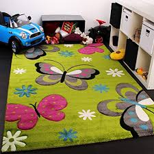 Kids Carpet With Butterfly Design Childrens Room Rug Green Cream Red Pink Pearly Debnam