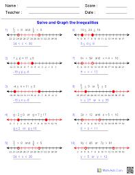 algebra 1 worksheets inequalities