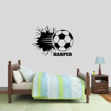 Custom Soccer Ball Breaking Wall Decal Personalized Names Sports Kid Room Locker Room Man Cave Removeable Vinyl Wall Sticker 190 Wall Stickers Aliexpress