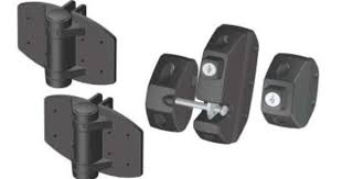 Clark Black Gate Hardware Kit With Spring Loaded Hinges And 2 Way Locking Latch For Vinyl And Wood Gates 4200 The Ho Gate Hardware Wood Gate Home Depot Doors