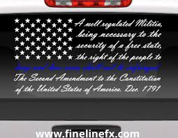 Second Amendment American Flag With Blue Line For Police Support Vinyl