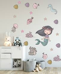 Kids Mermaid Ariel And Underwater Wall Decal Sticker Wall Decals Wallmur