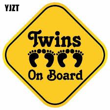 Yjzt 16cm 16cm Twins On Board Car Sticker Cute Footprints Decal Warning Pvc 12 40415 Car Stickers Aliexpress