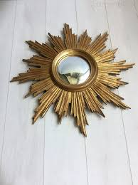 vintage giltwood sunburst convex mirror