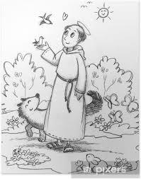 Poster Kleurplaten Beeld Van Sint Franciscus Met Wilde Dieren