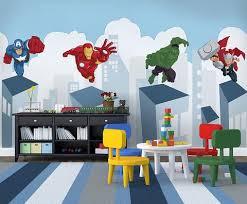 Superhero Cartoon Avengers Wallpaper For Kids Hand Painted Print Mural Beddingandbeyond Club