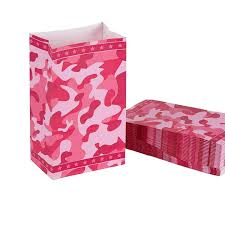 pink camouflage paper party favor bag