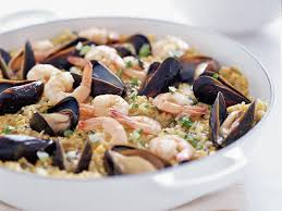 Seafood Paella with Spinach and Arugula ...