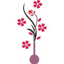 Flower Vase Wall Decals Free Vector File Cnc