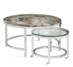 round silver nesting cocktail tables