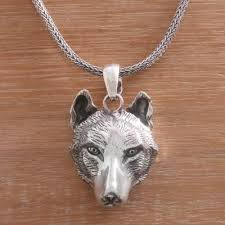 handcrafted sterling silver wolf head