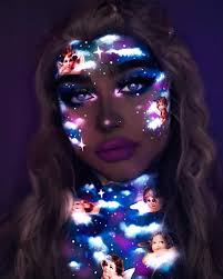 makeup artist uses neon colors to