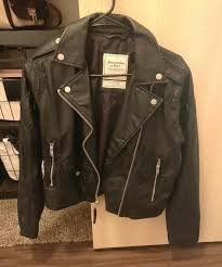 fitch black leather jacket