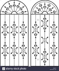 Wrought Iron Gate Door Fence Window Grill Railing Design Vector Stock Vector Image Art Alamy