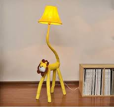 Litfad Dimmable Floor Lamp Cartoon Lion Design 51 Tall Standing Modern Light With Fabric Shade For Kids Room Bedroom Yellow Amazon Com