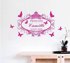 Girl Room Wall Sticker Personalized Name Customer Princess Sleep Here Wall Decal Quote Sticker Art Wall Decals Quotes Name Wall Stickerswall Sticker Aliexpress