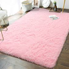 Amazon Com Andecor Soft Fluffy Bedroom Rugs 5 X 8 Feet Indoor Shaggy Plush Area Rug For Boys Girls Kids Baby College Dorm Living Room Home Decor Floor Carpet Pink Home Kitchen