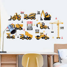 Cartoon Excavator Construction Wall Decals Baby Boy Nursery Kids Room Stickers Decoration Pvc With Double Sided Visible Pattern Wall Stickers Aliexpress