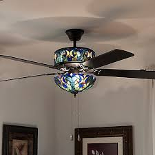 double lit stained glass ceiling fan