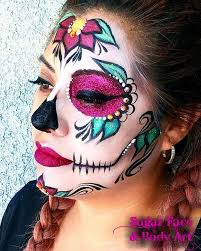 colorful sugar skull makeup saubhaya