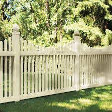 Shop Freedom Ready To Assemble Carlisle Scallop Sand Gothic Picket Vinyl Fence Panel Common 48 In X 6 Ft Ac Fence Gate Design Vinyl Fence Panels Vinyl Fence