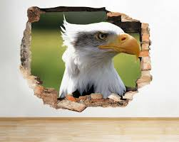 Wall Stickers Eagle Falcon Bird Prey Cool Smashed Decal 3d Art Vinyl Room F539