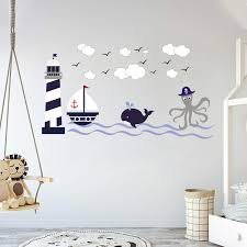 Amazon Com Nautical Theme The Wonderful Sea World Sailor Children S Room Kids Room Baby Nursery Playroom Wall Decal Mural Vinyl Transfer Wall Art Am Wide 30 X 17 Height Baby