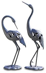 crane pair led garden sculpture