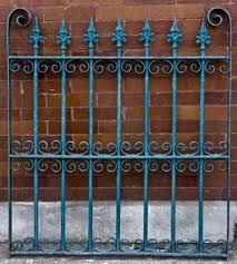 C 1880 S Victorian Era Ornamental Wrought Iron Exterior Fence Section