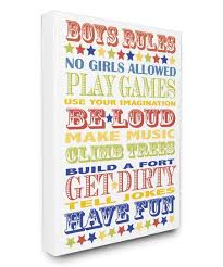 The Kids Room By Stupell Boys Rules Wrapped Canvas Best Price And Reviews Zulily